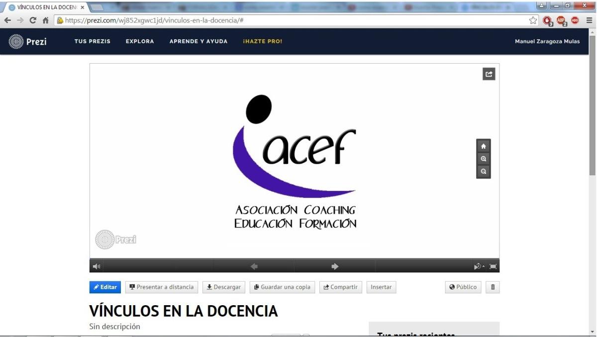 Presentación prezi: VINCULOS EN LA DOCENCIA por Manuel Zaragoza