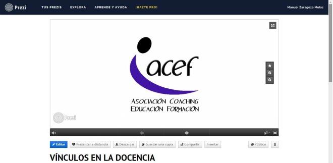 Presentación prezi: VíNCULOS EN LA DOCENCIA por Manuel Zaragoza.