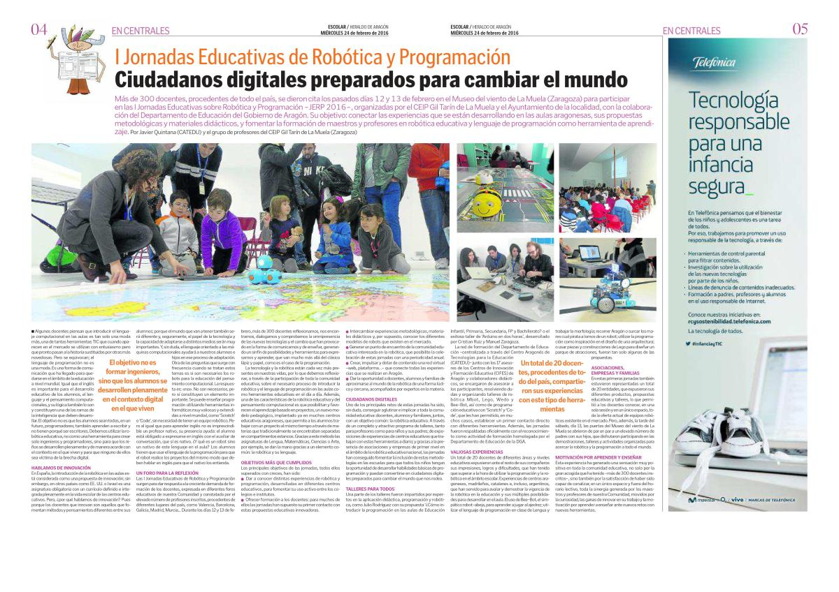Reportaje Heraldo de Aragon_HERALDO ESCOLAR _I Jornadas Educativas de Robotica y Programacion, JERP2016