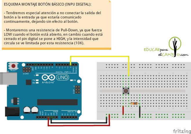 Montaje electrónico botón en arduino