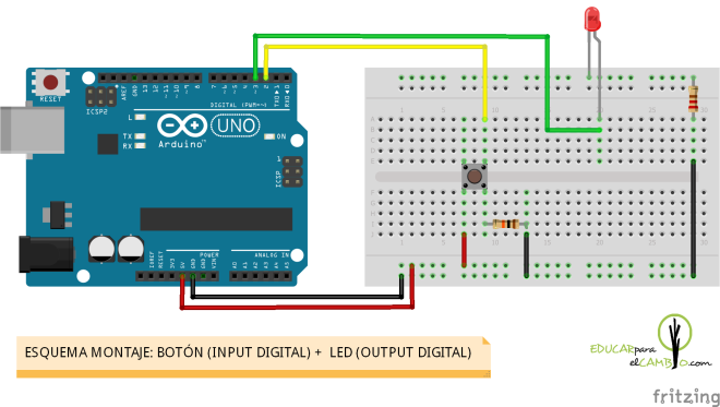 Esquema montaje botón simple + 1 led Arduino