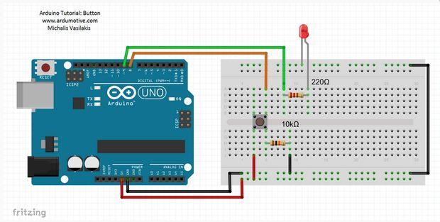 Push button + 1 led set up arduino