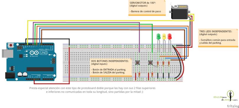 semáforo, servo 180º y botones para parking domótico con arduino