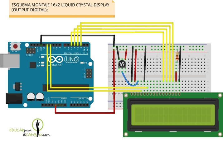 16x2 liquid crystal display LCD montaje en Arduino