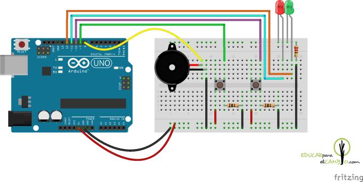 Arduino zumbador 2 botones 2 leds