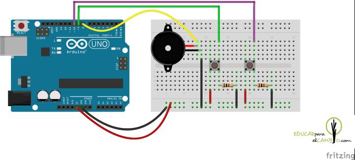 Arduino zumbador 2 botones