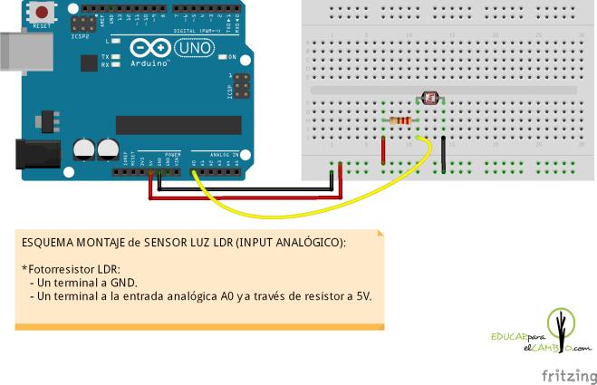 Sensor de luz LDR y arduino