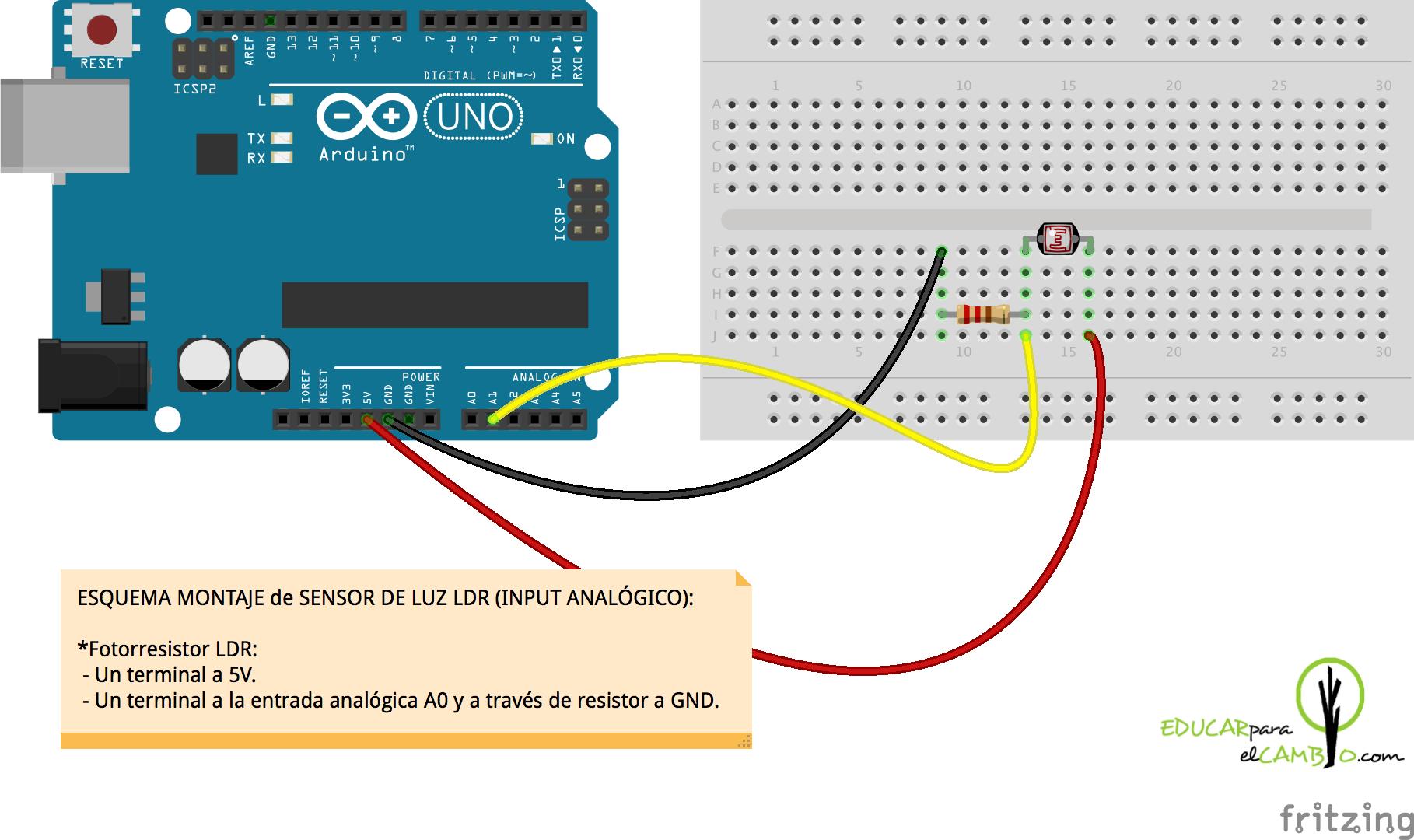 Reto 9 El Sensor De Luz Ldr Otro Input Analgico Educar Para Circuit Diagram Arduino