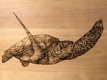 Pirograbado tortuga marina 03