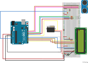 esquema electronico parking domotico arduino fritzing