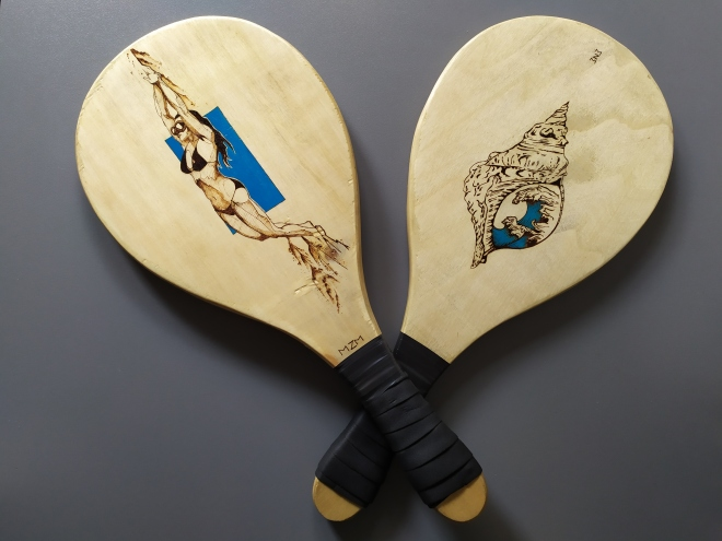 Beach rackets pyrography