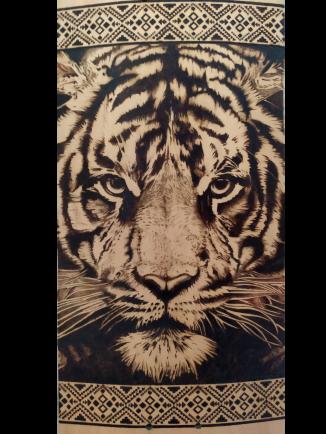 Tigre de Bengala Pirograbado 1