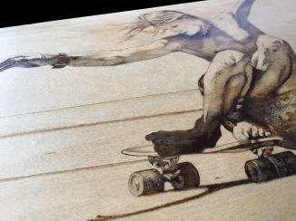 vintage skateboarding pyrography 6