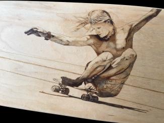 vintage skateboarding pyrography 7