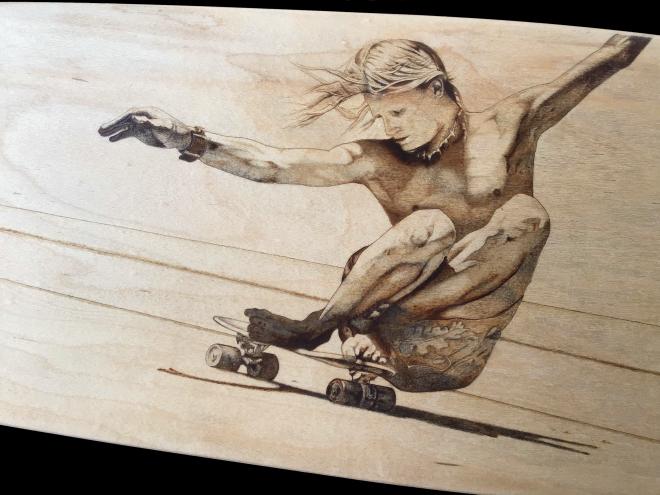 vintage skateboarding pyrography